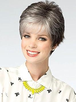 Color gris plata con pelo corto moda vieja caliente mullida corta el pelo lacio pelucas peluca