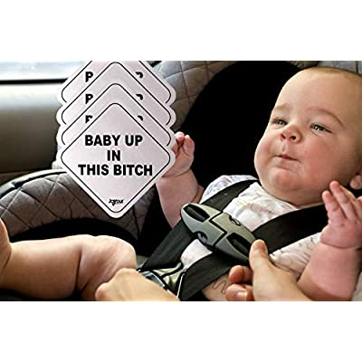 4 Pack - Baby Up In This B - Reflective Car Magnets - Weatherproof / Durable - 5x5