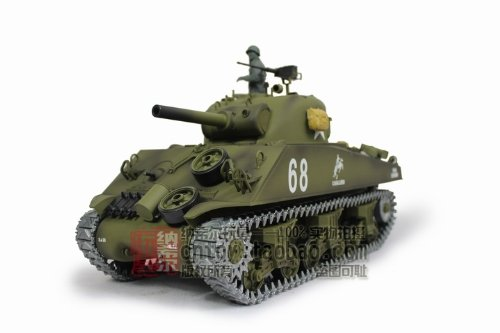 (1/16 US M4A3 Sherman Tank (105mm Howitzer) Air Soft RC Battle Tank Smoke & Sound (Upgrade Version w/ Metal Gear & Tracks))