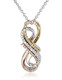 14k Rose Gold and Gold Plated Sterling Silver Diamond (0.15cttw) Double Interlocking Tri Color Infinity Pendant Necklace, 18""