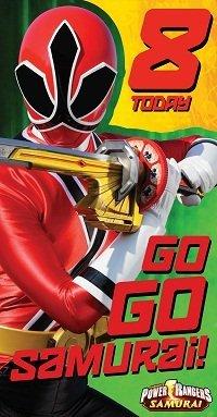 i Power Rangers Samuari Age 8 Birthday Card ()
