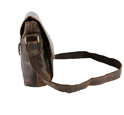 Genda 2Archer Tracolla in Pelle di Cavallo Pazzo (25cm * 7 cm * 32 cm)