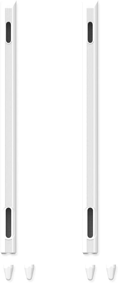 Case Silicone for Apple Pencil 2 Anti-Slip Skin Sleeve for iPad Pro 11/12.9 Inch Pen Body Tip Cover (White)