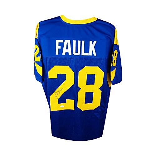 Marshall Faulk Autographed St Louis Rams Custom Blue Football Jersey - JSA COA