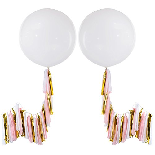 MOWO 36'' Round White Giant Latex Balloon with Tassel (2 set, metallic gold, pink, white tassels) (Big White Balloons)