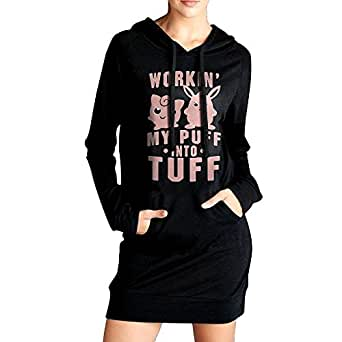 Workin My Puff Into Tuff Fashionable Humor Graphic Hoodie With Long Sleeves Sweatshirt For Women