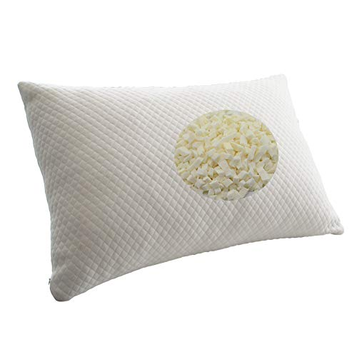 IcosyHome,Bed Pillow for Sleeping, Shredded Adjustable Natural Latex Foam Pillow,Hotel Loft  with Zipper Removable Breathable Cooling  Pillow Cover (Queen ()