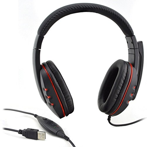 Usb Headset,LESHP Computer Headset Schwarz Verstellbare Lautstärkeregelung USB Verkabelt Stereo Mikrofon Kopfhörer Mic Headset für PS3 PC Spiel