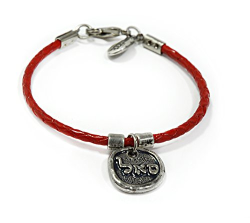 Women's 72 Names of God Red Leather Bracelet with Silver Plated SAL for Prosperity