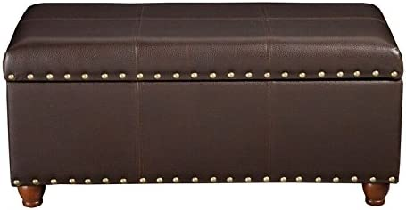 HomePop Faux Leather Cocktail Storage Bench, Brown