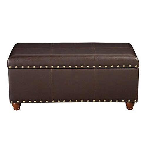 HomePop Faux Leather Cocktail Storage Bench, Brown ()