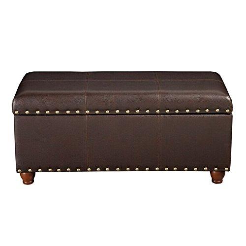 HomePop Leatherette Storage Bench with Nailhead Trim, - Nailhead Storage