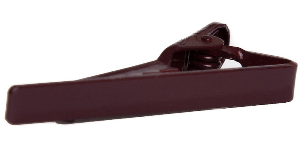 Jacob Alexander Skinny Tie Clip 1.5'' Width - Burgundy by Jacob Alexander