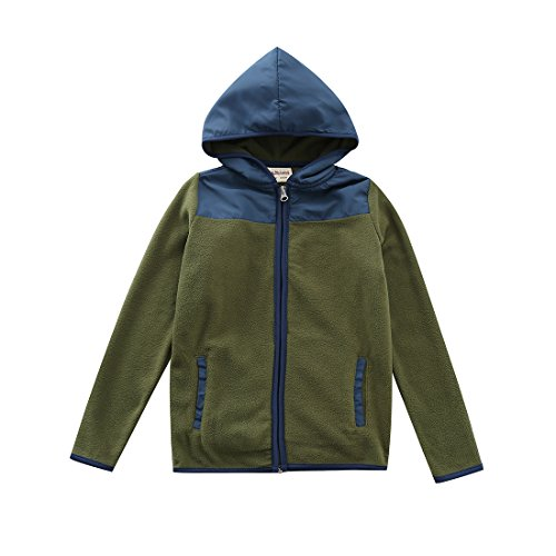 MOMOLAND Boys Long Sleeve Hooded Full Zip Polar Fleece Jackets (8 Years, Army Green)