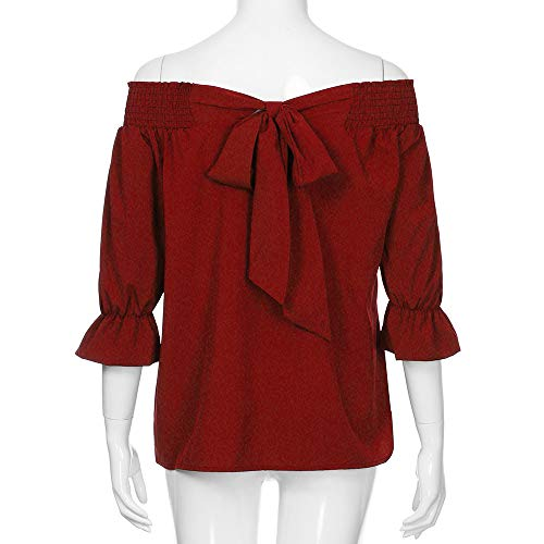 Shirt Shoulder BaZhaHei Camicie Bardot Camicetta Top Sciolto Casuale off Rosso Ladies T Donna Tops yAAWc17