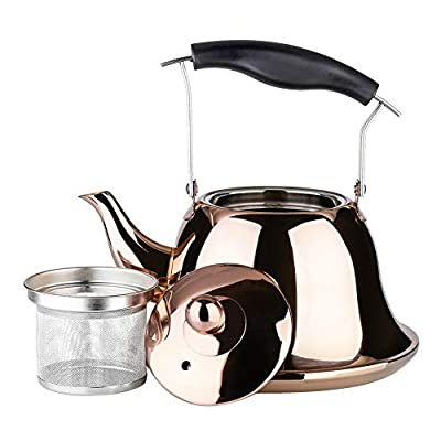 OMGard Whistling Tea Kettle with Infuser Loose Leaf Stainless Steel Teapot Rose Gold Teakettle for Stovetop Induction Stove Top Heat Water Tea Pot Copper 2-Liter 2.1-Quart