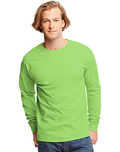 Hanes 6.1 oz. Tagless ComfortSoft Long-Sleeve T-Shirt, Large, LIME