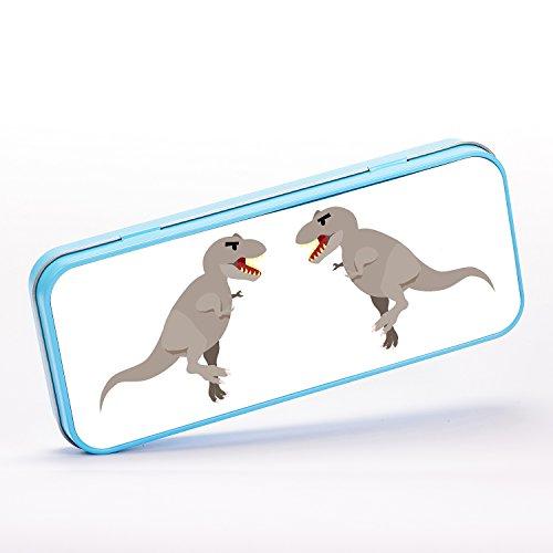 T-Rex Dinosaur Grey Design Jurassic Stationery Metal Tin - (Stationery Tin)