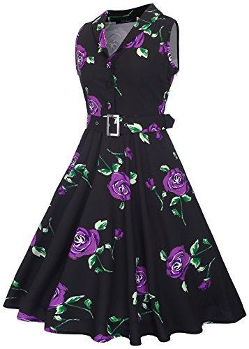 V mangas 50s en desmontable con vintage cuello Rosa cinturón con sin té de Negro Womens vestido púrpura rockabilly WpqgnYUY