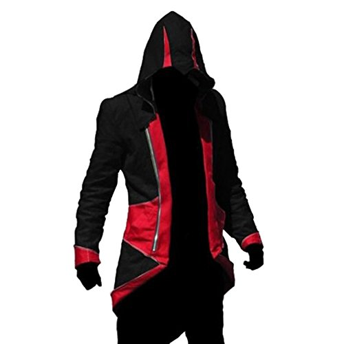 oodie Outwear Cosplay Jacket - Perfect Long Sleeves Anime Cosplay Costume for Cosplay Theme Activities,Halloween, Concerts, Theme Parties and Dating (X-Large, Black RED) ()