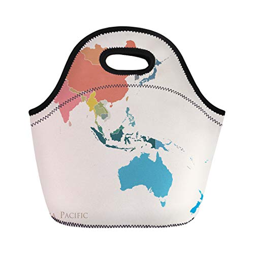 Semtomn Lunch Tote Bag Blue East Map of Asia Pacific Vintage Color South Reusable Neoprene Insulated Thermal Outdoor Picnic Lunchbox for Men Women
