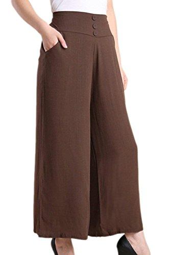 Pantaloni High Casualechic Nero Monocromo Baggy Pingrog Pantalone Trousers Waist Palazzo Elegante Larghi Estivi Stoffa Donne Di Cqq18dx