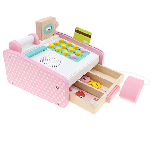(MagiDeal Pink Wooden Cash Register Supermarket Pretend Play Game Kids Educational Toy)