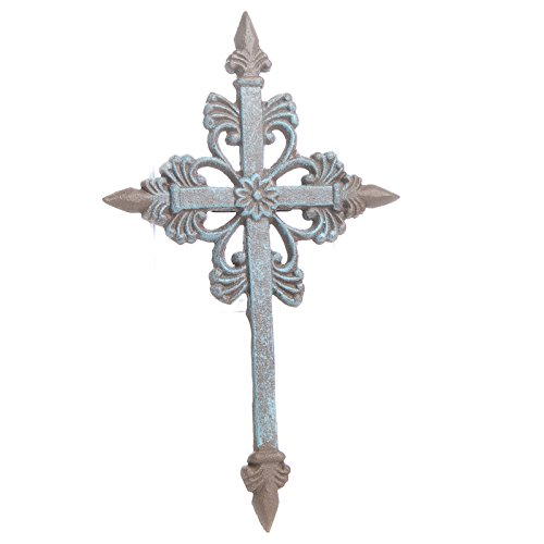 Factory Direct Craft Intricately Designed Turquoise and Rusted Metal Cross for Gifting, Displaying and Crafting