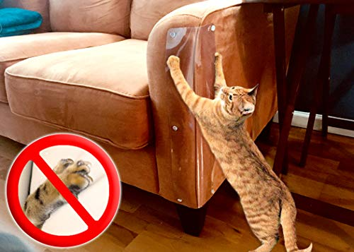 LAMINET The Original Deluxe Cat Scratch Shields - Protect Your Furniture with Our Deluxe Heavy Duty Furniture Scratch Shields - Set of 2 Heavy Duty Flexible Plastic Shields - (18L x 5.5W - INCHES) (21 Best Guns For Home Protection)
