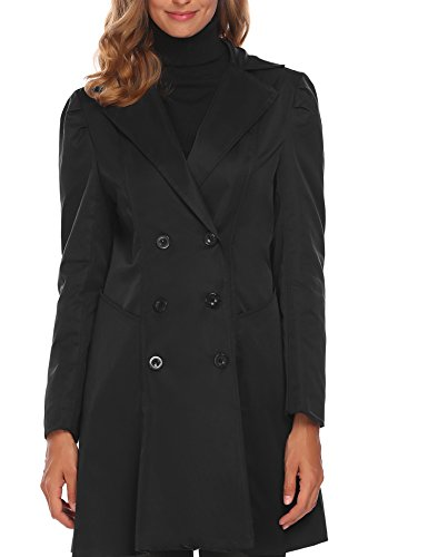 (BEAUTYTALK Basic Autumn Outerwear Junior Solid Notched Lapel Classic Double Breasted Dust Coat, Black,XX-Large)