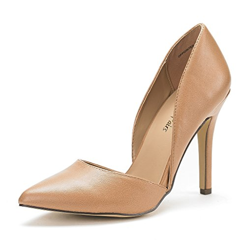 DREAM PAIRS OPPOINTED Women's D'Orsay Style Pointy Pumps Classic Stiletto Heel Shoes New NUDE PU SIZE 5 (Women Shoes Size 5)