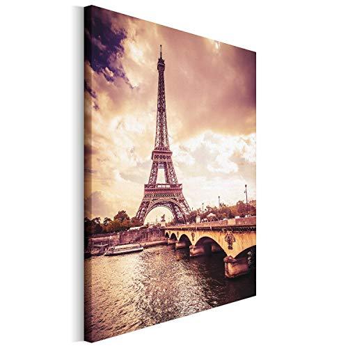 Revolio - Cuadro en Lienzo - impresion artistica - Decoracion de Pared - Tamano 40x50 cm - Torre Eiffel Puente sephia