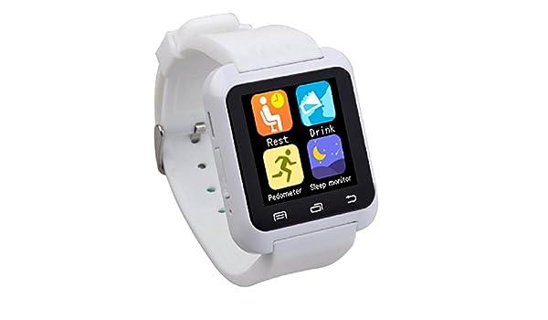 zolimx U80 inteligente deporte sano Bluetooth pulsera reloj Podómetro (blanco): Amazon.es: Relojes