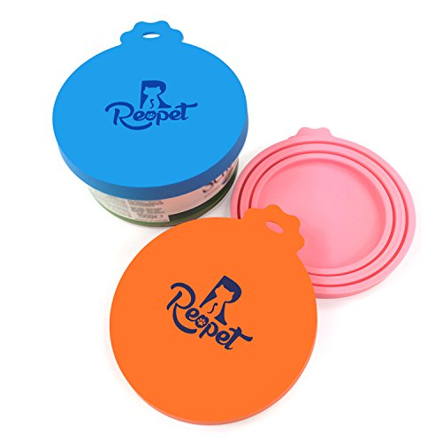 Pet Food Can Lids (Reopet Pet Can Covers | 3 Pack | Universal Silicone Dog Can Lids | Cat Can Tops | Fit Three Standard Sizes | BPA Free & Dishwasher Safe)
