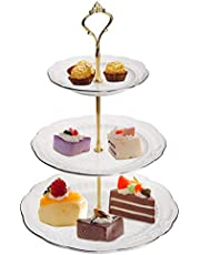 """Jucoan 3 Tier Ceramic Cake Stand, 3 PCS Assorted Sizes White Pastry Serving Platte with Golden Stand, 13.4"""" Cupcake Dessert Display Stand for Wedding, Party"""