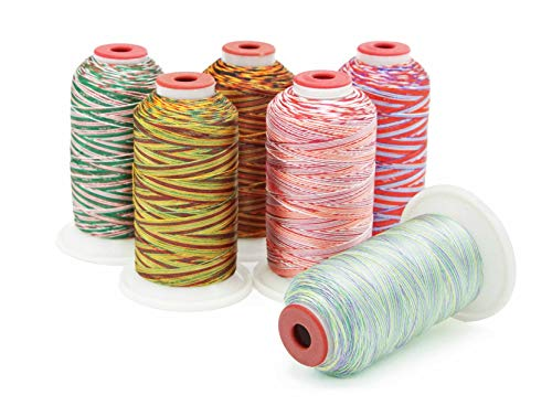 Variegated Polyester Machine Embroidery Thread - Six Spools - (1000M x 6) - Multicolor Thread Kit for Holiday Themed Crafts