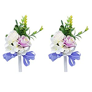 DCONMEE 2 Pieces Purple Peony Boutonniere for Men Wedding Handmade Cloth Flower Corsage and Boutonniere Accessories Set Gift-Boxed 108