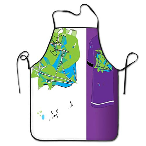 nsnabawanan Funny Personality Apron Crazy Colors Blank Abstract Pattern Looks Stained Glass Window Patchwork Chef Kitchen Aprons 20.4 28.3 inch