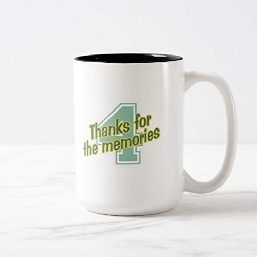 Zazzle Thanks 4 the Memories Coffee Mug, Black Two-Tone Mug 15 oz (Memory 400a)