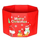 YJBear Red Fabric Christmas Ornament Storage Box Christmas Tree Foundation Accessories Home Decoration Toy Gift Box for Kids/Toddler 17.7'' X 17.7'' X 11.4''
