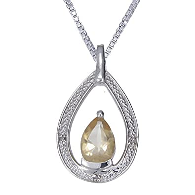 Silver Citrine Diamond Pendant 1.70 CT With 18 Inch Chain