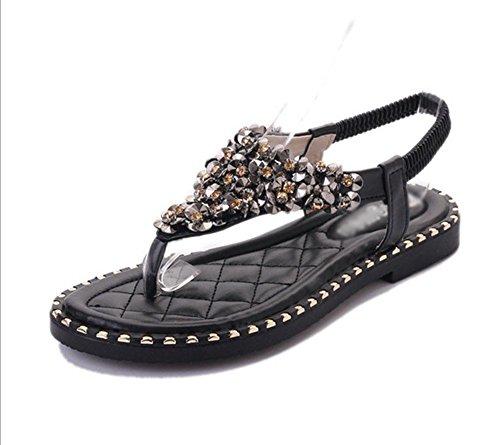 mujeres salvajes de diamantes piezas clip de dedo sandalias femeninas de la correa elástica de ocio de las sandalias de las sandalias planas Black