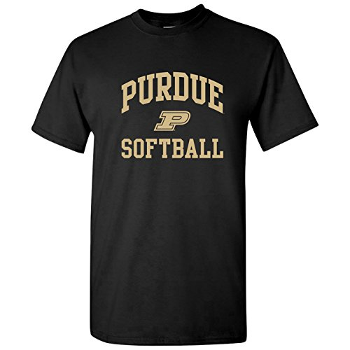Purdue University Seal - UGP Campus Apparel AS1114 - Purdue Boilermakers Arch Logo Softball T Shirt - Small - Black