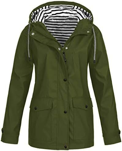 Women Winter Warm Coat Parka Overcoat Solid Rain Jacket Outdoor Plus Size Waterproof Hooded Raincoat Windproof