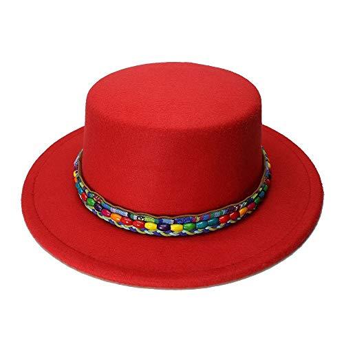 (Fashion Hats, Caps New Wool Boater Flat Top Hat for Women's Felt Wide Brim Fedora Hat Lady Prok Foot Felt Hat Bowler Gambler by Original Design Elegant Hats, Natural Caps)