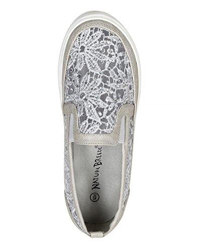 Rhinestone Embellishment Women Leatherette Flat CA59 Nature Breeze Mesh Lace Grey Sneaker Leatherette 0fwYqwR