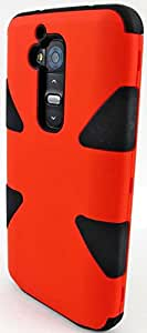 myLife Reddy Orange/Black {Dual-Colored Hard Shell Design} 3 Piece Hybrid Case for the for the LG G2 Smartphone (External Rubberized Snap On Hard Safe Shell Piece + Internal Soft Silicone Flexible Bumper Gel)