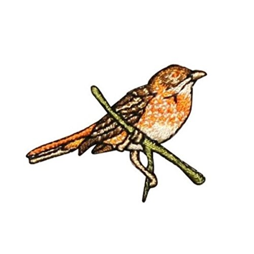 (ID 0612C Sparrow Perched Patch Robin Swallow Branch Embroidered Iron On Applique)