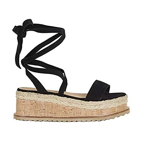 Image Unavailable. Image not available for. Color  DingXiong Summer White Women  Platform Sandals Open Toe Gladiator Lace Up Wedge Espadrilles ... f55b68893a8e