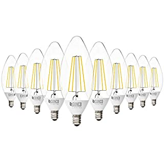 Sunco Lighting 10 Pack B11 LED Candelabra Bulb, Dusk-to-Dawn, 5W=40W, 2700K Soft White, Filament, 500 LM, E12 Base, Outdoor Decorative Light for Sconces - UL